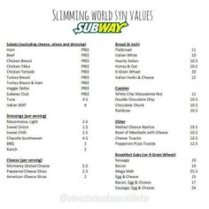 Subway syns - Slimming world - Sandwich Slimming World Syns List, Slimming World Survival, Slimming World Syn Values, Slimming World Dinners, Slimming World Recipes, Subway Salad, Ask Italian, Syn Free Food, Food Value