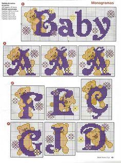 Gráficos Ponto Cruz Angel Bordados: alfabeto