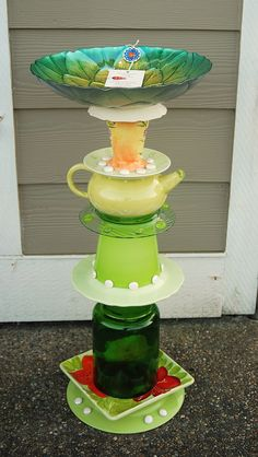 SOLD - recycled glass, birdbath/feeder, hand made and designed by Karen Talbot