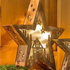 Lighted Wooden Stars With Laser-Cut Woodland Scene