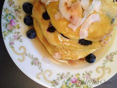 Blueberry Coconut Pancakes and Buttery Coconut Maple Syrup