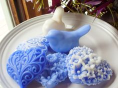 BIRD SOAP, Blue and White Love Birds with Hearts, Scented in White Tea & Ginger, Handmade, Vegetable Based