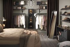 New bedroom closet curtains ideas Home Bedroom, Bedroom Apartment, Bedroom Decor, Ikea Bedroom, Master Bedrooms, Modern Bedroom, Apartment Living, Living Rooms, Closet Curtains