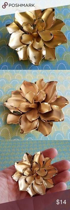 Vintage golden flower brooch Vintage golden flower brooch with glossy petals. It is in very nice used condition with some light surface wear. From a smoke free home:)  8858rose8v6v Vintage Jewelry Brooches