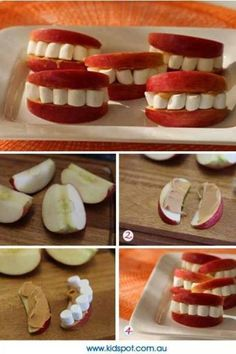 Love this healthy Halloween snack! Apples, peanut butter and marshmallows create cute sets of teeth! Just cut your apples into slices, spread on peanut butter and put marshmallows between the two slices! Buffet Halloween, Halloween Food For Party, Halloween Birthday, Holidays Halloween, Halloween Kids, Happy Halloween, Healthy Halloween Treats, Halloween Clothes, Halloween Fruit