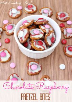 Chocolate Raspberry Pretzel Bites made using Hershey Raspberry Hugs.  A great Valentine's Day treat!  #raspberry #pretzel #Valentine