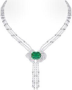 Louis Vuitton 'Voyage dans le temps' Fleur d'éternité necklace. The central stone is a green tourmaline and the beads are gold and diamond.