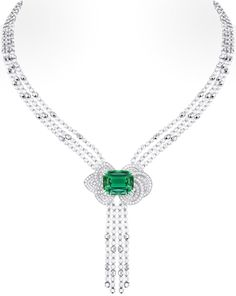Louis Vuitton 'Voyage dans le temps' Fleur d'éternité necklace. The central stone is a green tourmaline and the beads are gold and diamond. Via The Jewellery Editor.
