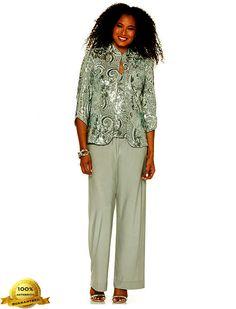 Grandmother of the Bride Alex Evenings Sequins 3 pc Sequin Pant Suit sz 14 NWT new