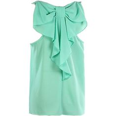Choies Mint Bow Back Sleeveless Loose Blouse