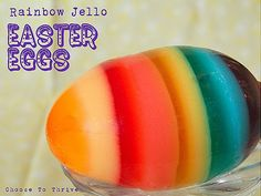 Rainbow Jell-o Easter Eggs - I don't know how good they'd taste, but they'd be a lot of fun to make for kids.  I need to borrow some kids!