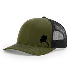c2083d8278661 Alaska State Outline Hat- Loden Green   Black