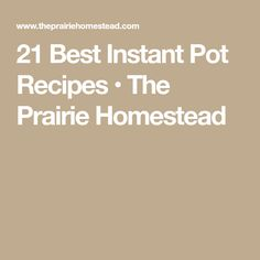 21 Best Instant Pot Recipes • The Prairie Homestead