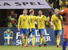 Marcus Berg of Sweden celebrates after scoring to 1-0 during the FIFA World Cup Qualifier between Sweden and Netherlands at Friends arena on September 6, 2016 in Solna, Sweden.
