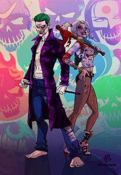 Batman Fan Art: Suicide Squad Harley Quinn and Joker Joker Cartoon, Dc Comics, Joker Und Harley Quinn, Nananana Batman, Arte Nerd, Harely Quinn, Comic Manga, Comic Art, Manga Anime
