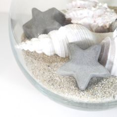 molded concrete stars set of three Shells And Sand, Home Decor Sets, Concrete Molds, Star Decorations, Vase Fillers, Home Accents, Bathroom Ideas, Future, Stars