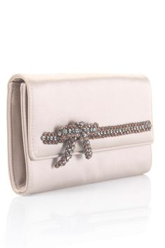 Rhinestone Bow Clutch In Beige