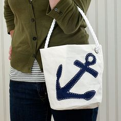 Navy Anchor Bucket Bag-sold by Stonewall Kitchen