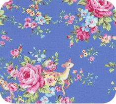 Blue floral/animal print