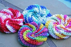 Spiral scrubbies - free pattern, worked as a flat diagonal, then pulled up & joined. There's even a YouTube video  ;-)   . . . .   ღTrish W ~ http://www.pinterest.com/trishw/  . . . .   #crochet