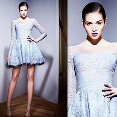 2015 Zuhair Murad Cocktail Dresses Short Light Sky Blue Lace A Line Prom Party Gown Long Sleeve Sheer Fall Special Occasion Homecoming Dress Cocktails Dress Embellished Cocktail Dresses From Firstladybridal, $86.67| Dhgate.Com