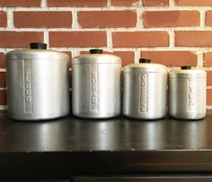 Vintage chrome canisters to keep some character in your kitchen!   Discover more fabulous vintage finds online at whattheseoldthings.com and whattheseoldthings.etsy.com! We ship worldwide! #vintagedecor #vintagestyle #vintagehome #decorinspo #vintageinspo #vintagekitchen #chrome