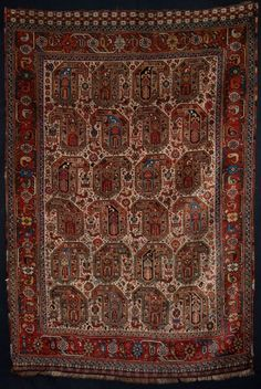 ANTIQUE SOUTH WEST PERSIAN TRIBAL KHAMSEH RUG, IVORY GROUND BOTEH DESIGN, VERY FINE, 4TH QUARTER 19TH CENTURY - Knights Antiques