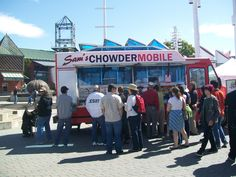 Visit www.samschowdermobile.com to see when Sam's award winning seafood may be visiting your area via mobile food truck! Mobile Food Trucks, Food Sites, Small Restaurants, Recipe Sites, Seafood, Yummy Food, Sea Food, Delicious Food, Small Dining