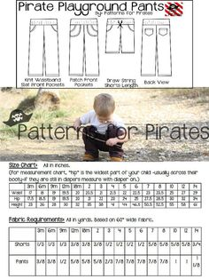 Pirate Playground Shorts and Pants Sewing by PatternsforPirates