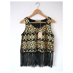 pappilon aztec print black crop-top