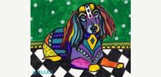 50 off  Long Haired Dachshund Art Poster Print by HeatherGallerArt, $10.00