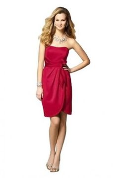 Cherry Cocktail Length Strapless Sash Satin Short Bridesmaid Dress G200  $59.99 @Samantha Street