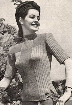 vintage women's crew neck jumper with ribbed and garter stitch panels