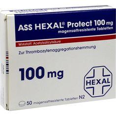 ASS HEXAL Protect 100 mg magensaftresistentTabletten:   Packungsinhalt: 50 St Tabletten magensaftresistent PZN: 09911022 Hersteller:…