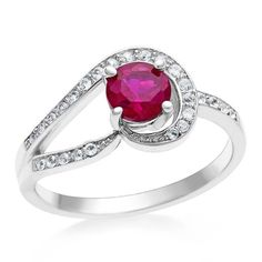 1.25 Carat Created Ruby & White Sapphire Ring in Sterling Silver #Netaya