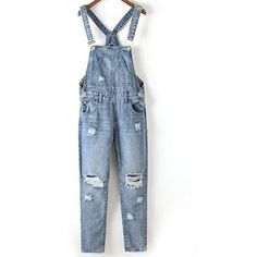 Bleach Wash Ripped Denim Overalls (£21) ❤ liked on Polyvore featuring jumpsuits, denim jumpsuit, blue jumpsuit, overalls jumpsuit, blue overalls and denim bib overalls