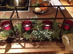 #PartyLite Framework Centerpiece and Ruby Anniversary Votive Pair.  Photo by April Good and Annette Kelly.