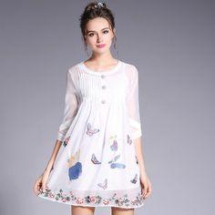 Women White Sheer Mesh Embroidery Dress Summer 2017 Plus Size Women Clothing L to 4xl 5xl