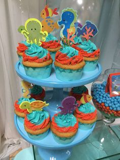 Fantastic cupcakes at an  under the sea birthday party! See more party ideas at CatchMyParty.com!