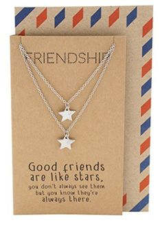 Friendship Necklace for 2 with Matching Star Pendants, Greeting Card, Envelope, 16-in to 18-in by Quan Jewelry -- Awesome products selected by Anna Churchill