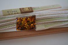 Obi-jime silk kimono cord, white, pale green and silver, vintage Japanese by StyledinJapan on Etsy