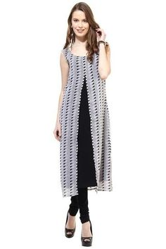 LadyIndia.com # Kurtas, Designer Black Cotton Sleeveless Kurta For Women, Kurtis, Kurtas, Cotton Kurti, https://ladyindia.com/collections/ethnic-wear/products/designer-black-cotton-sleeveless-kurta-for-women