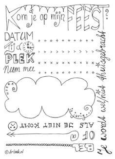 Printable voor een uitnodiging #handlettering #kinderfeestje Vul zelf met een…
