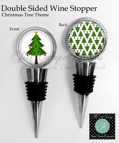 CHRISTMAS TREE Wine Stopper - 2 sided Wine Stopper - Christmas Tree by NowThatsPersonal on Etsy