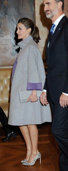 30 November 2016 - State visit to Portugal (day 3) - coat by Carolina Herrera, shoes by Magrit