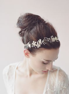 Beaded gold blossom hair vine - Style # 409 - Ready to Ship (2014, hair adornments, hair vine, hair vines, headbands, headpieces, ready to ship, twigs and honey, view all) | Headpieces | Twigs & Honey ®, LLC