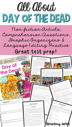 Great reading test prep!  This pack features an article about Day of the Dead (dia de los muertos), comprehension questions, graphic organizers and language editing practice.  Prepare your students for FSA!