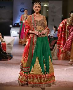 Forest Green Lengha Set with Applique and Stones Work - Ashima Leena - India Couture Week '15 - Off The Runway