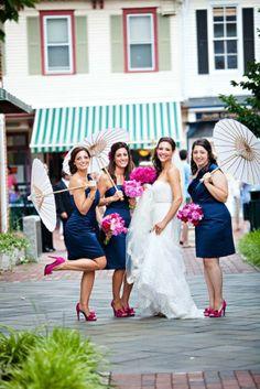 Navy blue and pink bridesmaids!