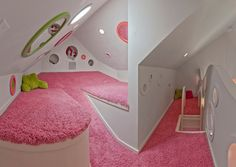 Attic Playroom Design: the odder the layout the better for this attic design. Pink shag ftw!